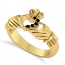 Black Diamond Claddagh Ladies Ring with Hollow Heart 14k Yellow Gold (0.05ct)