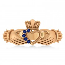 Blue Sapphire Claddagh Ladies Ring with Hollow Heart 14k Rose Gold (0.05ct)