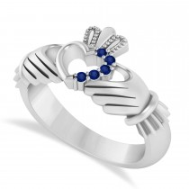 Blue Sapphire Claddagh Ladies Ring with Hollow Heart 14k White Gold (0.05ct)