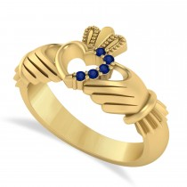 Blue Sapphire Claddagh Ladies Ring with Hollow Heart 14k Yellow Gold (0.05ct)