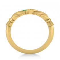 Emerald Claddagh Ladies Ring with Hollow Heart 14k Yellow Gold (0.05ct)
