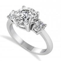 Round 3-Stone Diamond Engagement Ring 14k White Gold (2.50ct)