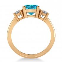 Round 3-Stone Blue & White Diamond Engagement Ring 14k Rose Gold (2.50ct)
