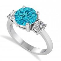 Round 3-Stone Blue & White Diamond Engagement Ring 14k White Gold (2.50ct)