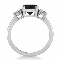 Round 3-Stone Black & White Diamond Engagement Ring 14k White Gold (2.50ct)