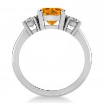 Round 3-Stone Citrine & Diamond Engagement Ring 14k White Gold (2.50ct)