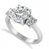 Round 3-Stone Moissanite & Diamond Engagement Ring 14k White Gold (2.50ct)