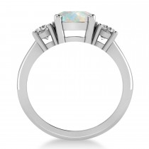 Round 3-Stone Opal & Diamond Engagement Ring 14k White Gold (2.50ct)