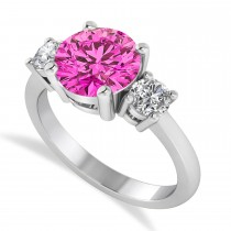 Round 3-Stone Pink Topaz & Diamond Engagement Ring 14k White Gold (2.50ct)