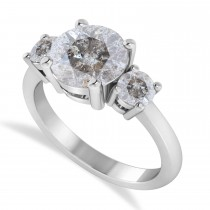 Round 3-Stone Salt & Pepper Diamond Engagement Ring 14k White Gold (2.50ct)