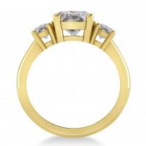 Round 3-Stone Salt & Pepper Diamond Engagement Ring 14k Yellow Gold (2.50ct)