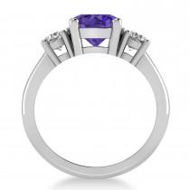 Round 3-Stone Tanzanite & Diamond Engagement Ring 14k White Gold (2.50ct)