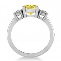Round 3-Stone Yellow & White Diamond Engagement Ring 14k White Gold (2.50ct)