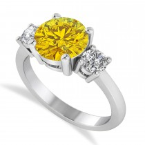 Round 3-Stone Yellow Sapphire & Diamond Engagement Ring 14k White Gold (2.50ct)