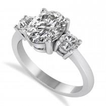 Oval & Round 3-Stone Diamond Engagement Ring 14k White Gold (3.00ct)