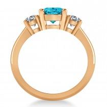 Oval & Round 3-Stone Blue & White Diamond Engagement Ring 14k Rose Gold (3.00ct)