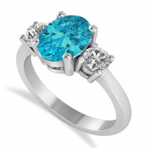 Oval & Round 3-Stone Blue & White Diamond Engagement Ring 14k White Gold (3.00ct)