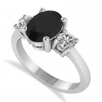 Oval & Round Three-Stone Black & White Diamond Engagement Ring 14k White Gold (3.00ct)