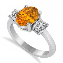 Oval & Round 3-Stone Citrine & Diamond Engagement Ring 14k White Gold (3.00ct)