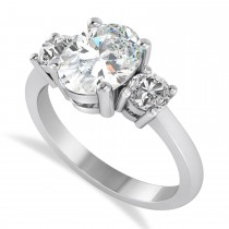Oval & Round 3-Stone Moissanite & Diamond Engagement Ring 14k White Gold (3.00ct)