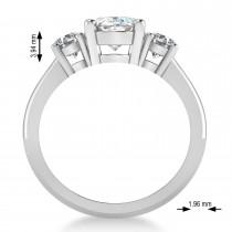 Oval & Round 3-Stone Moissanite & Diamond Engagement Ring 14k White Gold (3.00ct)