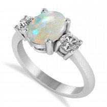 Oval & Round 3-Stone Opal & Diamond Engagement Ring 14k White Gold (3.00ct)