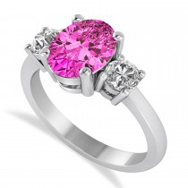 Oval & Round 3-Stone Pink Topaz & Diamond Engagement Ring 14k White Gold (3.00ct)