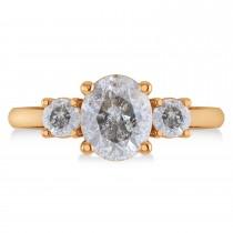 Oval & Round 3-Stone Salt & Pepper Diamond Engagement Ring 14k Rose Gold (3.00ct)
