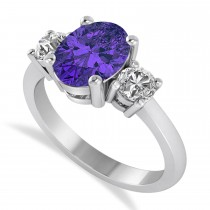 Oval & Round 3-Stone Tanzanite & Diamond Engagement Ring 14k White Gold (3.00ct)