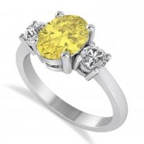 Oval & Round 3-Stone Yellow & White Diamond Engagement Ring 14k White Gold (3.00ct)