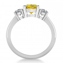 Oval & Round 3-Stone Yellow Sapphire & Diamond Engagement Ring 14k White Gold (3.00ct)