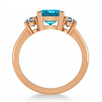Emerald & Round 3-Stone Blue & White Diamond Engagement Ring 14k Rose Gold (3.00ct)