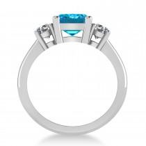 Emerald & Round 3-Stone Blue & White Diamond Engagement Ring 14k White Gold (3.00ct)