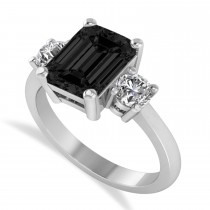 Emerald & Round Three-Stone Black & White Diamond Engagement Ring 14k White Gold (3.00ct)
