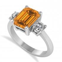 Emerald & Round 3-Stone Citrine & Diamond Engagement Ring 14k White Gold (3.00ct)