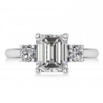 Emerald & Round 3-Stonee Moissanite & Diamond Engagement Ring 14k White Gold (3.00ct)