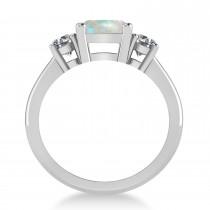 Emerald & Round 3-Stone Opal & Diamond Engagement Ring 14k White Gold (3.00ct)