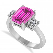 Emerald & Round 3-Stone Pink Topaz & Diamond Engagement Ring 14k White Gold (3.00ct)