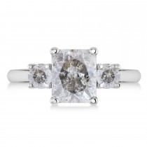 Emerald & Round 3-Stone Salt & Pepper Diamond Engagement Ring 14k White Gold (3.00ct)