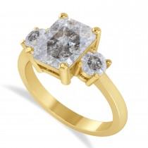 Emerald & Round 3-Stone Salt & Pepper Diamond Engagement Ring 14k Black Gold (3.00ct)