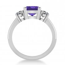 Emerald & Round 3-Stone Tanzanite & Diamond Engagement Ring 14k White Gold (3.00ct)