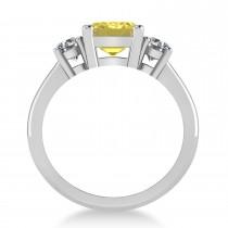 Emerald & Round 3-Stone Yellow & White Diamond Engagement Ring 14k White Gold (3.00ct)