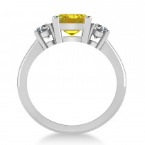 Emerald & Round 3-Stone Yellow Sapphire & Diamond Engagement Ring 14k White Gold (3.00ct)