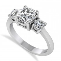 Cushion & Round 3-Stone Diamond Engagement Ring 14k White Gold (2.50ct)
