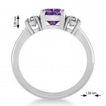 Cushion & Round 3-Stone Amethyst & Diamond Engagement Ring 14k White Gold (2.50ct)