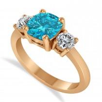 Cushion & Round 3-Stone Blue & White Diamond Engagement Ring 14k Rose Gold (2.50ct)