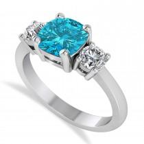 Cushion & Round 3-Stone Blue & White Diamond Engagement Ring 14k White Gold (2.50ct)