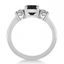 Cushion & Round Three-Stone Black & White Diamond Engagement Ring 14k White Gold (2.50ct)
