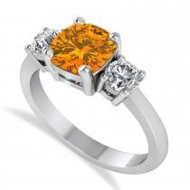 Cushion & Round 3-Stone Citrine & Diamond Engagement Ring 14k White Gold (2.50ct)