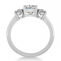 Cushion & Round 3-Stone Moissanite & Diamond Engagement Ring 14k White Gold (2.50ct)